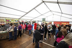 Local artisan food producers in the Food Hall at Festival Lough Erne 2
