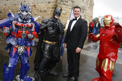 Superheroes from Heroes Hire with Festival Compere, Bryan Gallagher 2